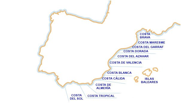 Mapa De España Costas.Mapa Costa Mediterranea Espana Detraiteurvannederland