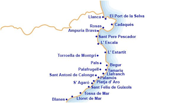Mapa Costa Brava Playas.Mapa Costa Brava Catalana Mapa