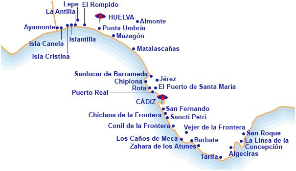 Mapa De Huelva Costa.Hoteles En Costa De La Luz Centraldereservas Com